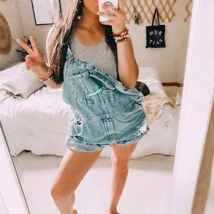 Key imperial distressed slouchy oversized overalls